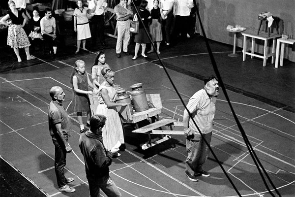 "Jerome Robbins rehearses with the original cast of the Broadway hit musical ""Fiddler on the Roof"" in 1964 (Source: http://www.nytimes.com/2013/10/20/theater/fiddler-on-the-roof-its-production-heritage.html)"
