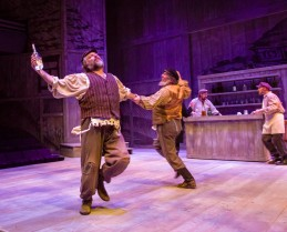 Tevye and Lazar Wolf dancing (photo credit: Tom Klingele)