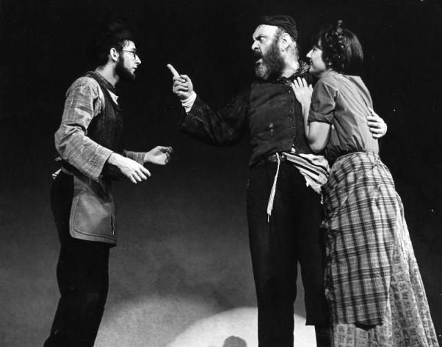 Austin Pendleton (Motel), Zero Mostel (Tevye), and Joanna Merlin (Tzeitel)<br>Source: http://www.bluegobo.com/production/2880400/photo/181236405