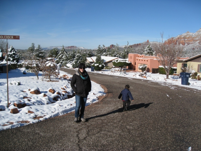 Vic and Ari heading out for our walk through the neighborhood.