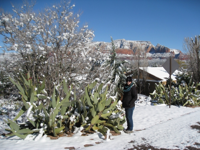 Victoria next to a cactus in the snow.